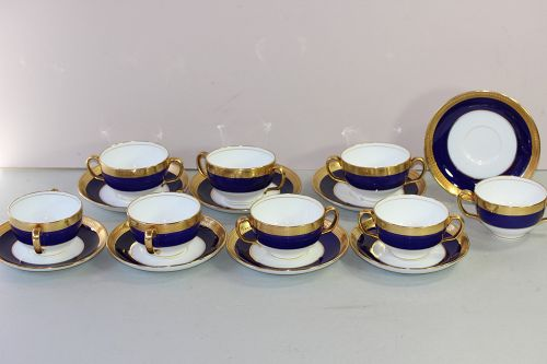 8 English Mintons Porcelain Bouillon Soup & Saucers
