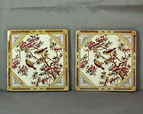 Pr. English Ceramic Transfer Tiles, with far eastern influence