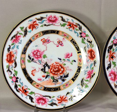Pair English Porcelain Plates, Peony flower rock garden