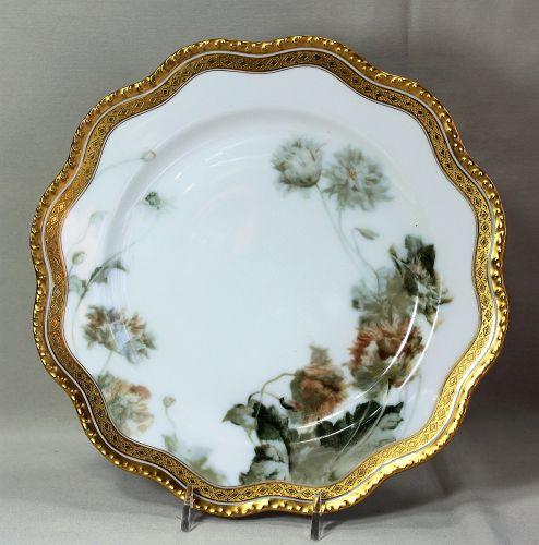 French Limoges Porcelain Plate, Feu de four, Poppy flower