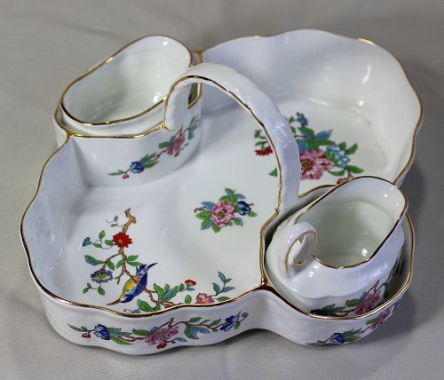 "English Aynsley Bone China  ""Pembroke"" Tea Server, sugar, creamer"