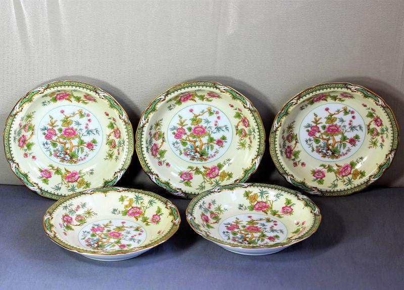 5 Japanese Noritake Porcelain large Bowls for Soup