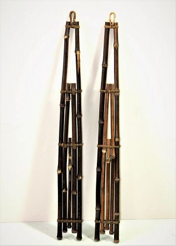 2 Japanese natural Bamboo wall hangers, with brass hook