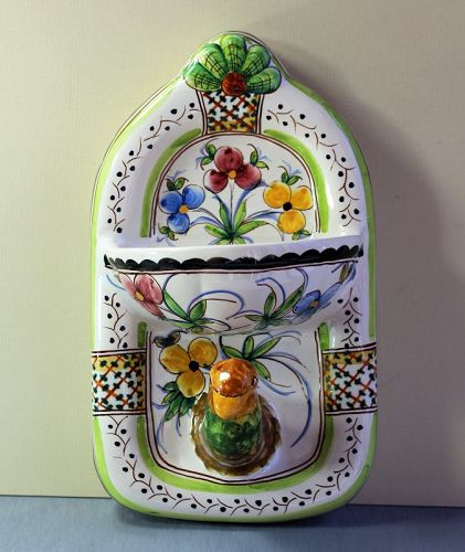 Portuguese hand painted Ceramic Bird towel hanger & Soap Dish