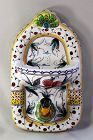 Portuguese hand painted Ceramic Bird Soap dish & Towel Hanger