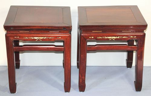 Pr. Chinese Rosewood inlaid Bone square low Table