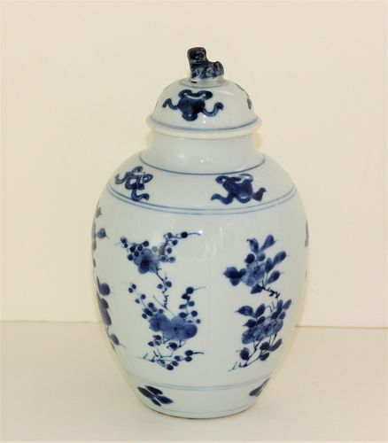 Chinese Export Blue & White Porcelain Vase, Foo Dog knob, Kangxi mark