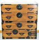 Japanese 2 section Tansu, Kiri wood Floral Mon Black Iron Hardware