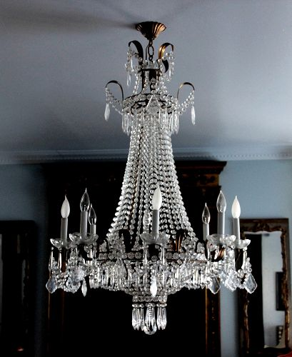 European Cut Crystal Empire style Chandelier