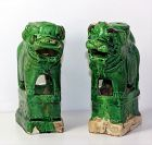 Pair Chinese Green glaze Pottery Foo Dog Joss Stick Holders