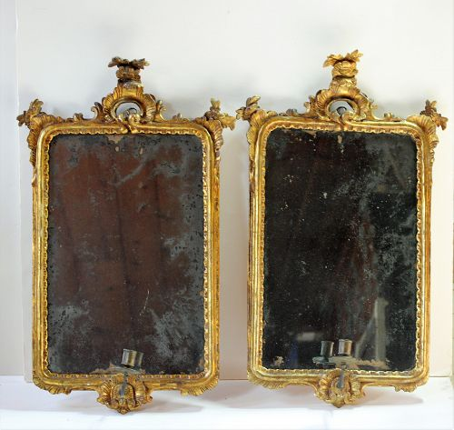 18th C. Pair Italian Rococo Gold Girandole Mirrors, with candle arms