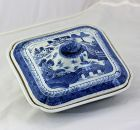 Chinese Export Canton Blue & White Porcelain Serving Tureen, 19th C.