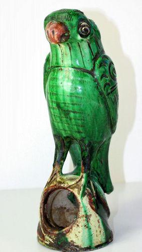 Chinese Green Pottery Parrot Altar Joss Stick Holder