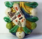 Chinese Pottery hanging Wall Pocket/Vase, Bird and Fruit