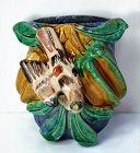 Chinese Sancai glazed Pottery Wall hanging pocket, Bird and Fruit