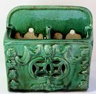 Chinese Green Monochrome Glazed Pottery double Chopstick Holder