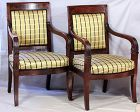 Pair French Directoire style carved Mahogany Armchairs