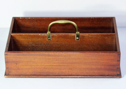 English Georgian Mahogany Cutlery Tray with Brass Handle