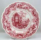 English Pink Transferware Dinner plate