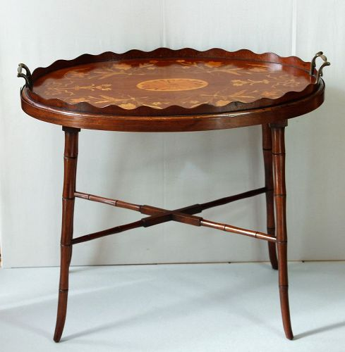 English Georgian Mahogany Marquetry scalloped Tray Table