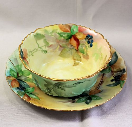 French Limoges Porcelain serving Bowl and matching under plate