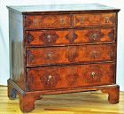 English William & Mary Marquetry inlaid 5 drawer Chest, 18th C.