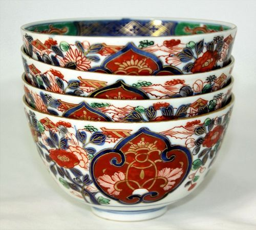 4 Japanese Imari Porcelain Bowls,  serving Soup or Rice
