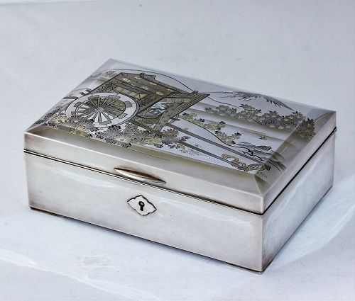 """Japanese """"Silver 950"""" Jewelry Box with Mt. Fuji and Imperial Carriage"""