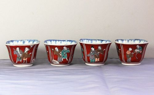 4 Japanese Imari Porcelain Soba Noodle Cups, Comical Figure design