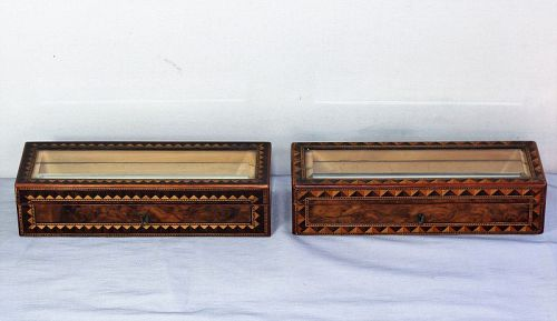 2 English Turnbridge Ware Glove Boxes, Mid. 19th C.