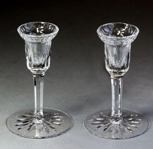 Pair Irish Waterford signed hand cut Lead Crystal Candlesticks