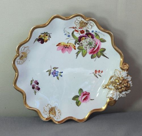 English Bone China Serving Dish, scalloped rim & Grape handle