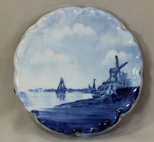German Rosenthal Blue and White Windmill Hot Plate, Trivet
