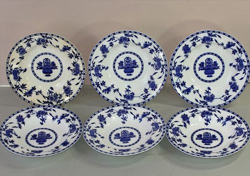 6 English Mintons Porcelain Blue Delft design  deep Soup Plates