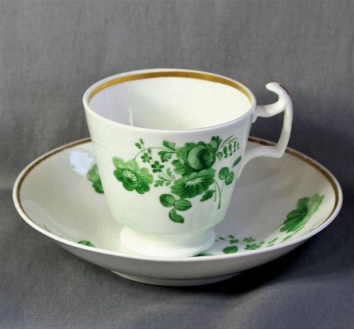 English Bone China Tea Cup and Saucer, 18th C.