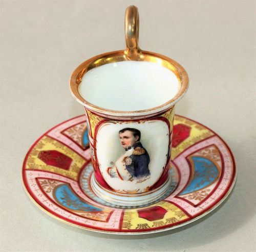 French Napoleon Portrait Porcelain Cup and Saucer
