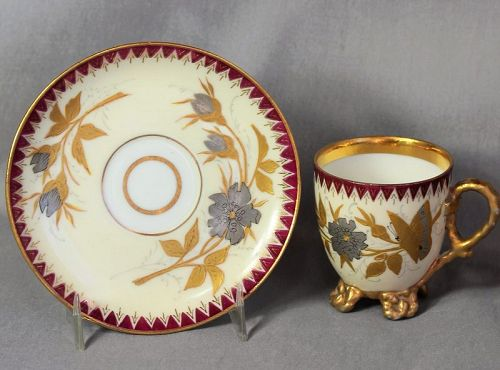 Porcelain Gold & Silver hand painted Butterfly Demitasse Cup & Saucer