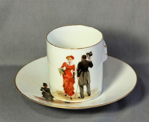 French Porcelain hand painted Lady & Gentleman Demitasse Cup & Saucer