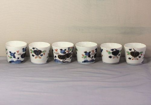 6 Japanese Imari Blue & White, mixed colors Porcelain Soba Noodle Cups