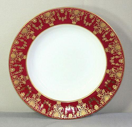 English Porcelain Soup Plate, raised Gold design on Wine color Rim