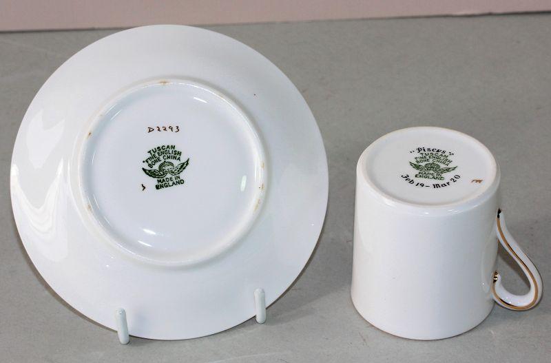 English Tuscan Porcelain Double Fish Demitasse Cup & Saucer