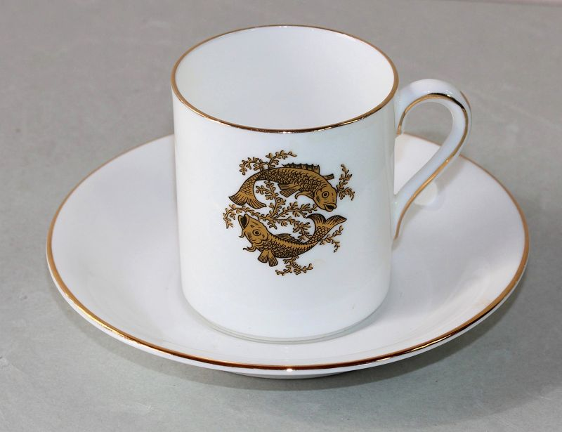 English Tuscan Porcelain Double Fish Demitasse Cup & Saucer