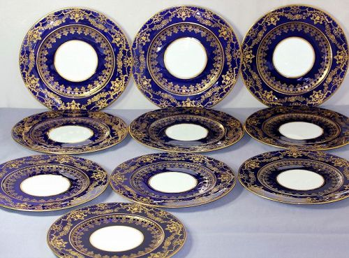 10 English Crescent Porcelain Plates, Cobalt Blue & Encrusted Gold