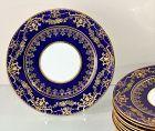 10 English Crescent Porcelain Plates, Cobalt Blue & Encrusted Gold