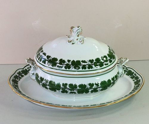 German Meissen Green Ivy Porcelain Soup Tureen & matching Platter
