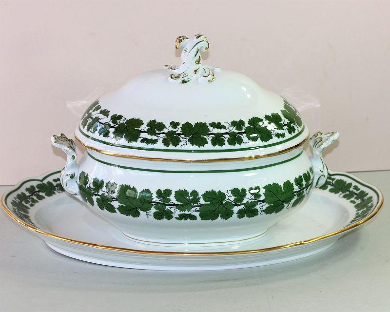 German Meissen Green Ivy Porcelain Soup Tureen & matching Platter
