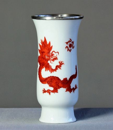German Meissen Porcelain Ming Red Dragon Vase, silver top
