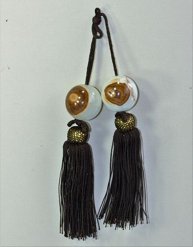 Pr. Japanese Onyx Scroll hanging Weights, natural grain