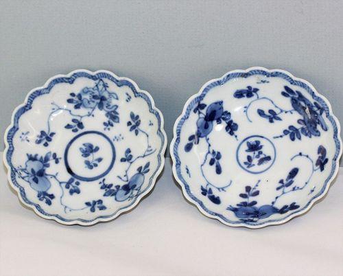 18th C. Pr. Chinese Kangxi Blue & White Porcelain Sauce Dishes