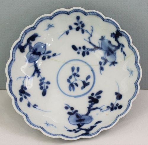 18th C. Chinese Kangxi Porcelain Blue & White Sauce Dish, as is